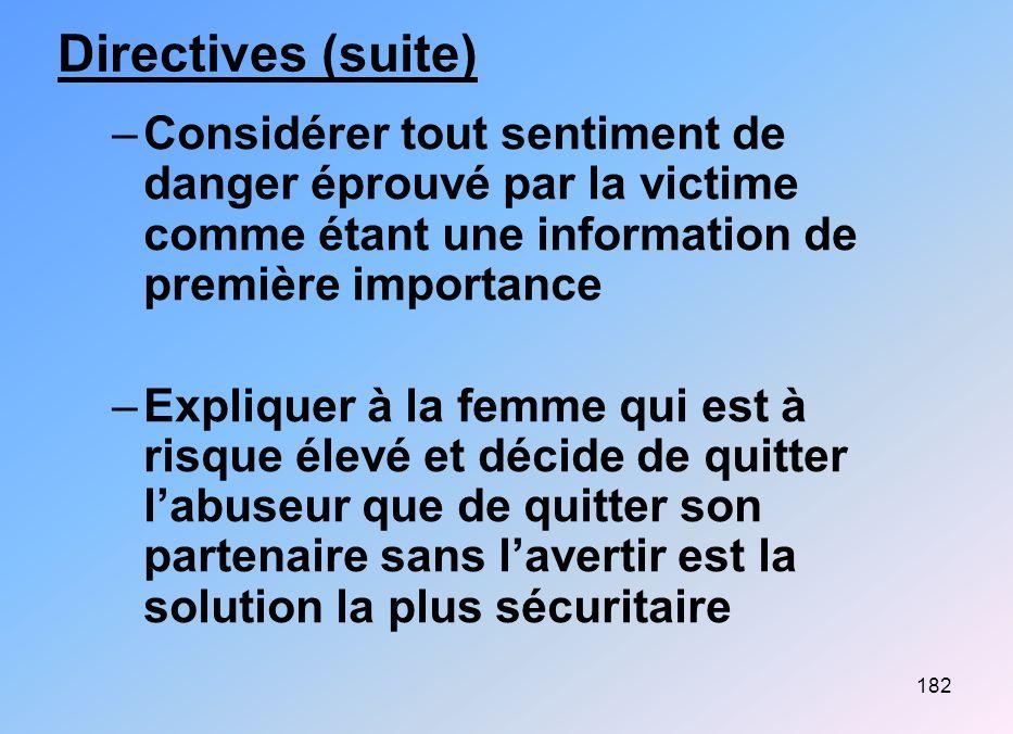 182 Directives (suite) –Considérer tout sentiment de danger éprouvé par la victime comme étant une information de première importance –Expliquer à la