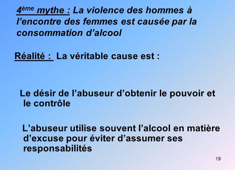 19 4 ème mythe : La violence des hommes à lencontre des femmes est causée par la consommation dalcool Réalité : La véritable cause est : Le désir de l