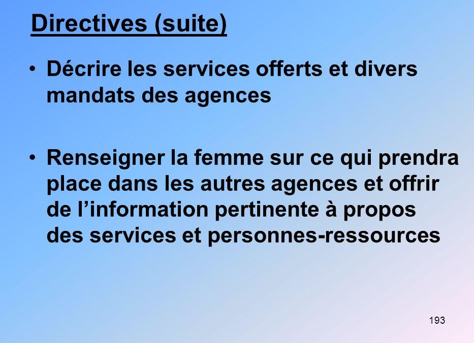 193 Directives (suite) Décrire les services offerts et divers mandats des agences Renseigner la femme sur ce qui prendra place dans les autres agences