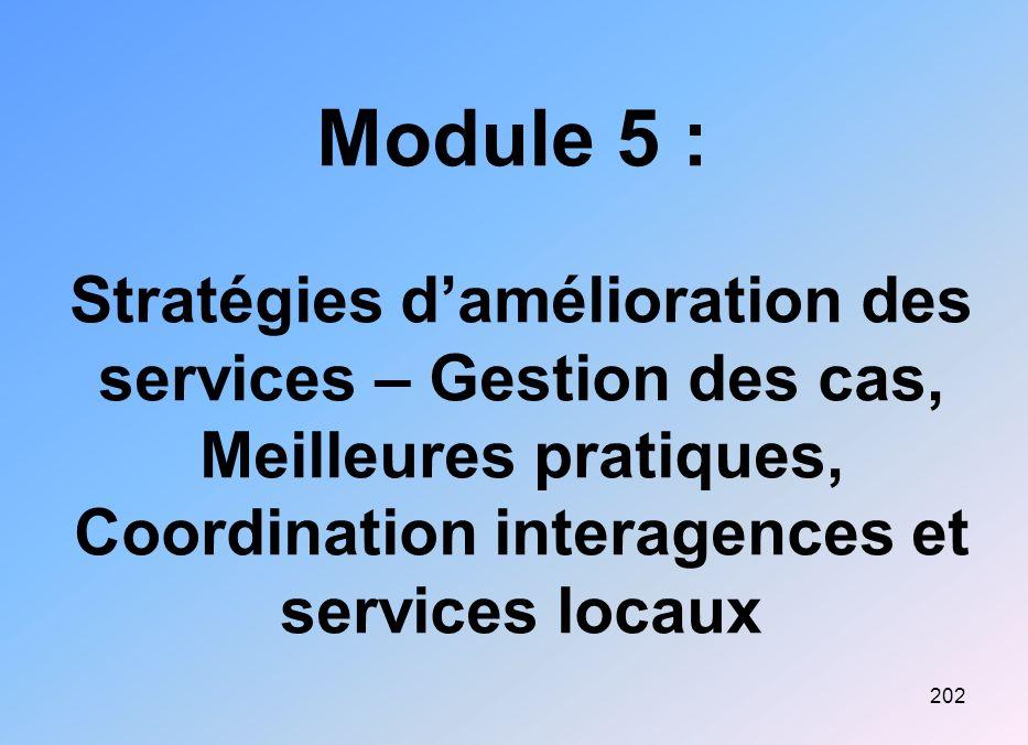 202 Module 5 : Stratégies damélioration des services – Gestion des cas, Meilleures pratiques, Coordination interagences et services locaux