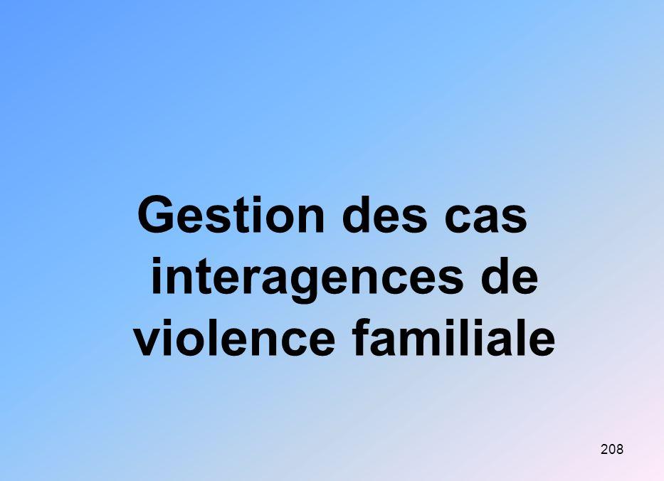 208 Gestion des cas interagences de violence familiale