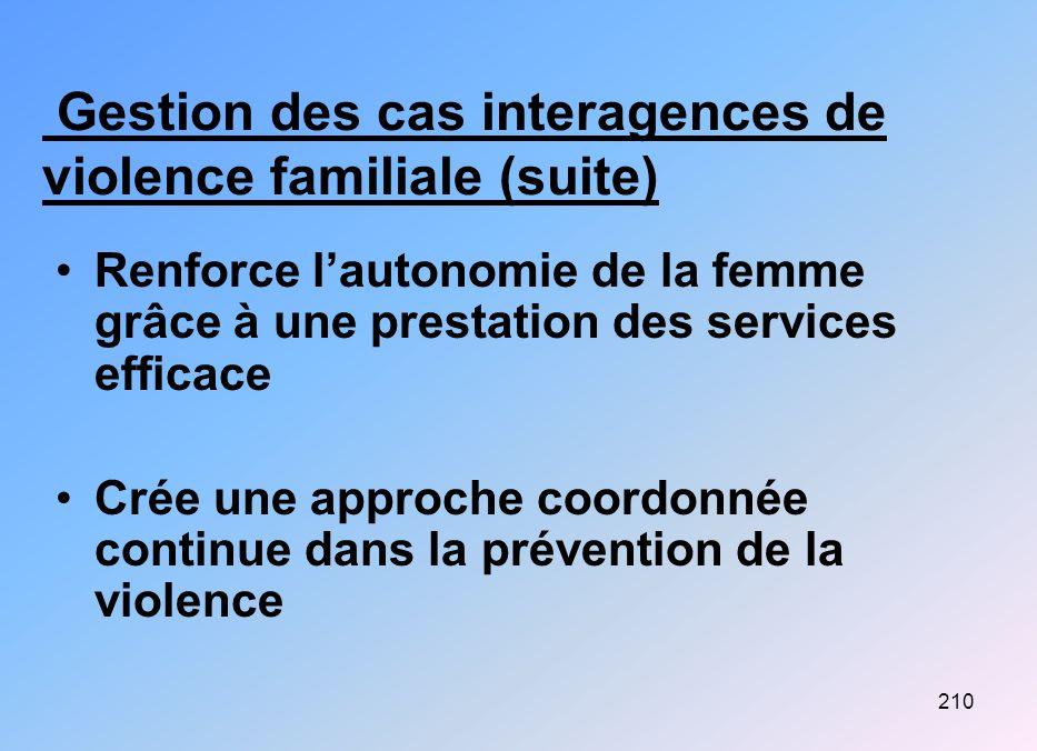210 Gestion des cas interagences de violence familiale (suite) Renforce lautonomie de la femme grâce à une prestation des services efficace Crée une a