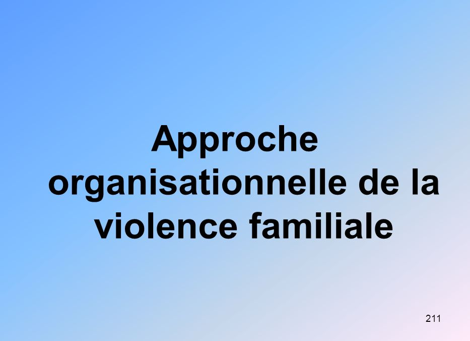 211 Approche organisationnelle de la violence familiale