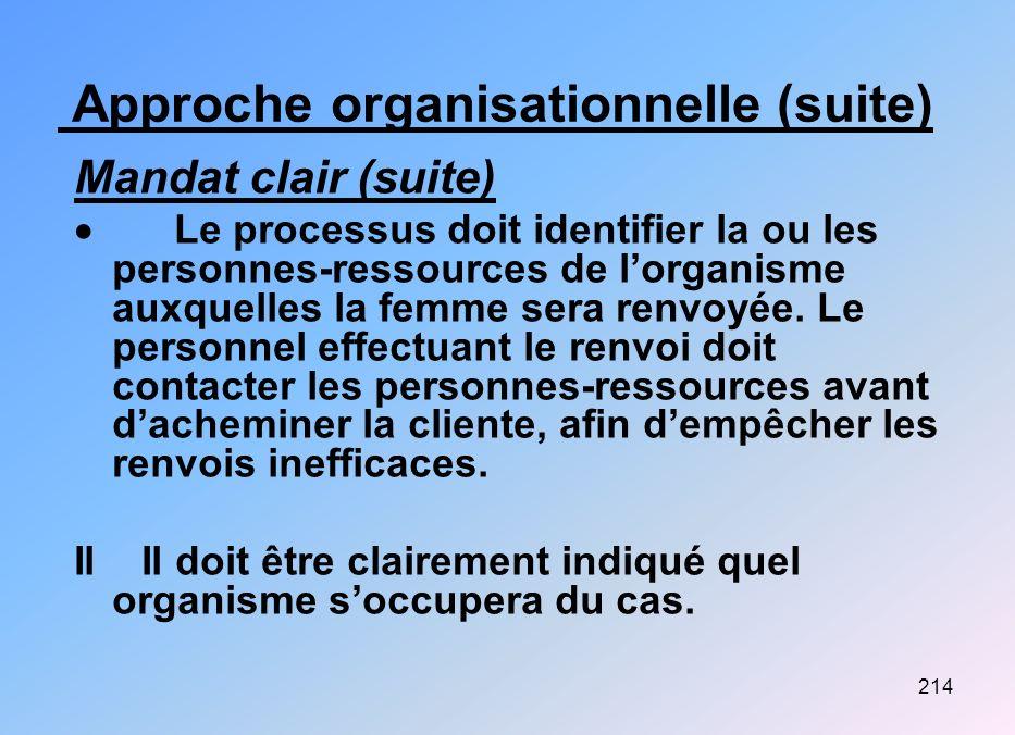 214 Approche organisationnelle (suite) Mandat clair (suite) Le processus doit identifier la ou les personnes-ressources de lorganisme auxquelles la fe