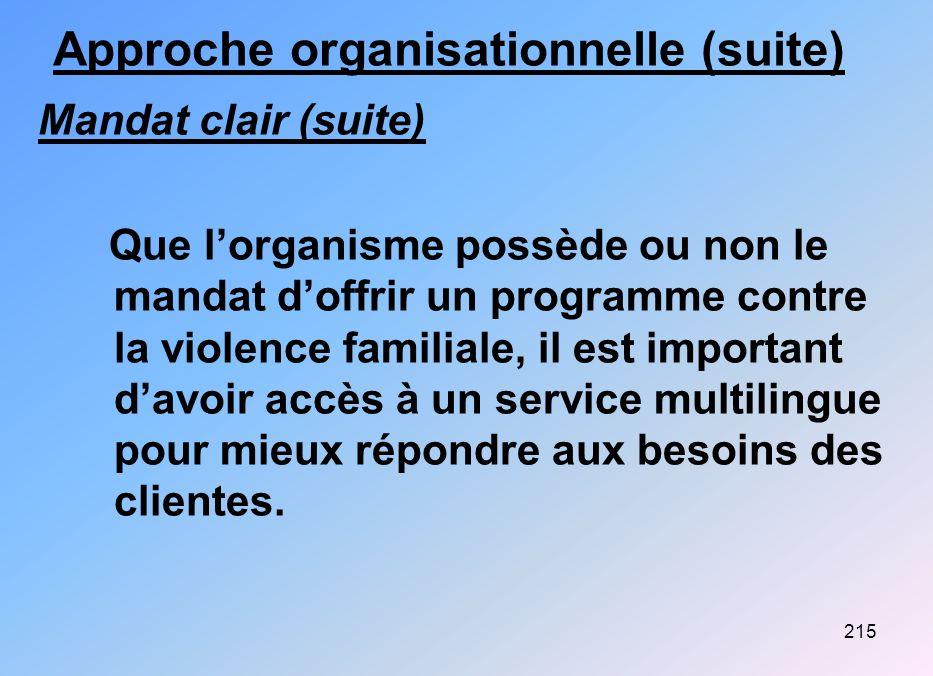 215 Approche organisationnelle (suite) Mandat clair (suite) Que lorganisme possède ou non le mandat doffrir un programme contre la violence familiale,