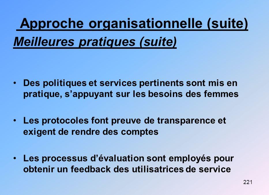 221 Approche organisationnelle (suite) Meilleures pratiques (suite) Des politiques et services pertinents sont mis en pratique, sappuyant sur les beso