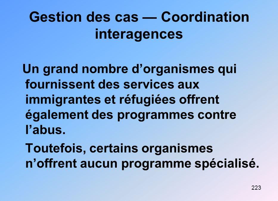 223 Gestion des cas Coordination interagences Un grand nombre dorganismes qui fournissent des services aux immigrantes et réfugiées offrent également