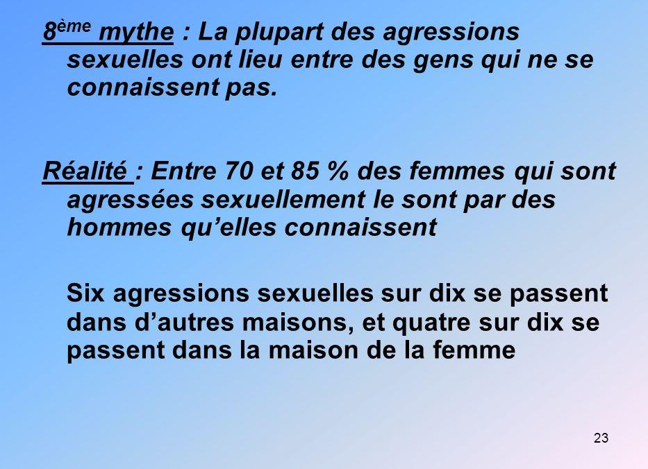 23 8 ème mythe : La plupart des agressions sexuelles ont lieu entre des gens qui ne se connaissent pas. Réalité : Entre 70 et 85 % des femmes qui sont