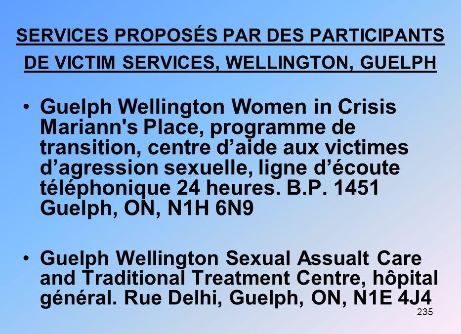 235 SERVICES PROPOSÉS PAR DES PARTICIPANTS DE VICTIM SERVICES, WELLINGTON, GUELPH Guelph Wellington Women in Crisis Mariann's Place, programme de tran