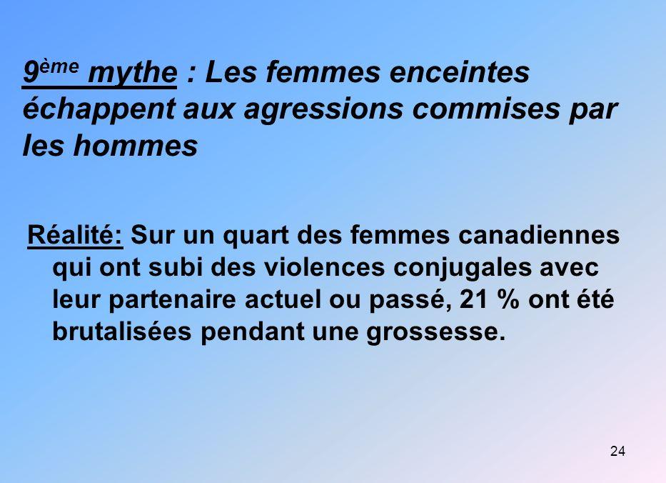 24 9 ème mythe : Les femmes enceintes échappent aux agressions commises par les hommes Réalité: Sur un quart des femmes canadiennes qui ont subi des v
