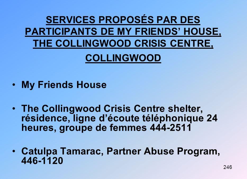 246 SERVICES PROPOSÉS PAR DES PARTICIPANTS DE MY FRIENDS HOUSE, THE COLLINGWOOD CRISIS CENTRE, COLLINGWOOD My Friends House The Collingwood Crisis Cen