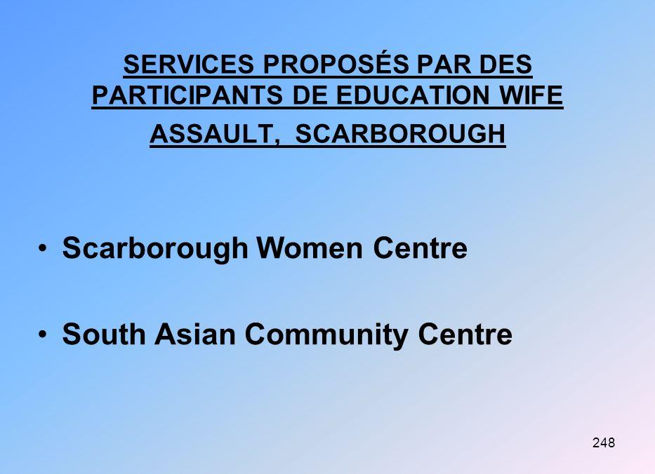 248 SERVICES PROPOSÉS PAR DES PARTICIPANTS DE EDUCATION WIFE ASSAULT, SCARBOROUGH Scarborough Women Centre South Asian Community Centre