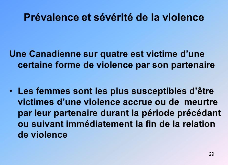 29 Prévalence et sévérité de la violence Une Canadienne sur quatre est victime dune certaine forme de violence par son partenaire Les femmes sont les
