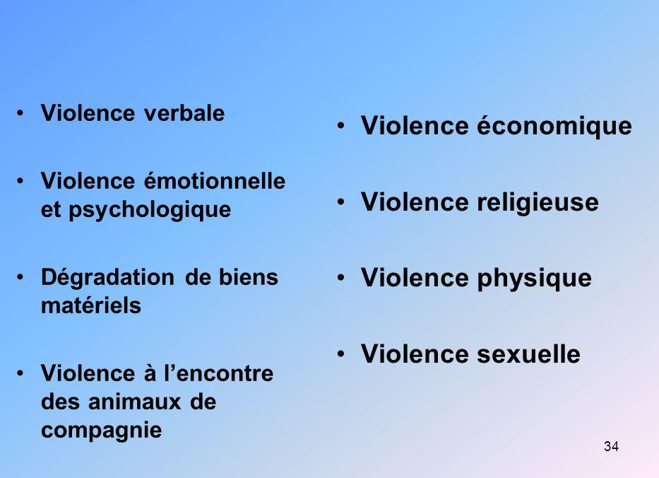 34 Violence verbale Violence émotionnelle et psychologique Dégradation de biens matériels Violence à lencontre des animaux de compagnie Violence écono
