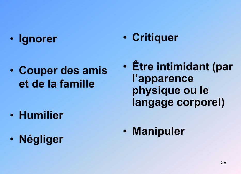 39 Ignorer Couper des amis et de la famille Humilier Négliger Critiquer Être intimidant (par lapparence physique ou le langage corporel) Manipuler