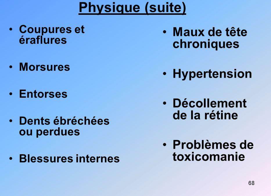 68 Physique (suite) Coupures et éraflures Morsures Entorses Dents ébréchées ou perdues Blessures internes Maux de tête chroniques Hypertension Décolle