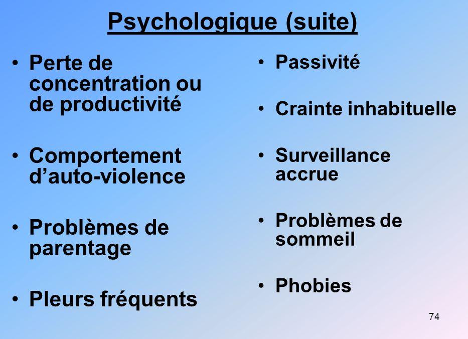 74 Psychologique (suite) Perte de concentration ou de productivité Comportement dauto-violence Problèmes de parentage Pleurs fréquents Passivité Crain