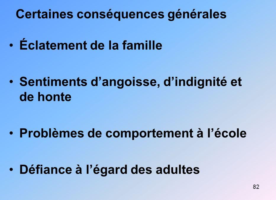 82 Certaines conséquences générales Éclatement de la famille Sentiments dangoisse, dindignité et de honte Problèmes de comportement à lécole Défiance