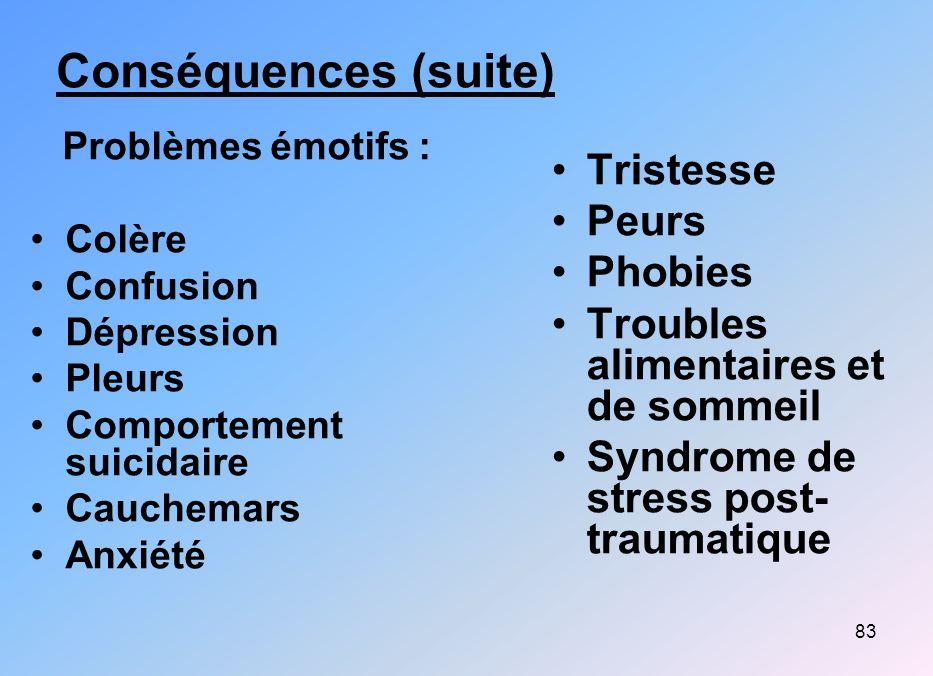 83 Conséquences (suite) Problèmes émotifs : Colère Confusion Dépression Pleurs Comportement suicidaire Cauchemars Anxiété Tristesse Peurs Phobies Trou