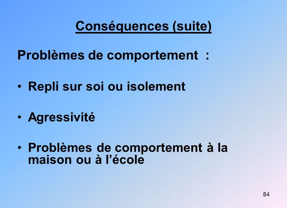 84 Conséquences (suite) Problèmes de comportement : Repli sur soi ou isolement Agressivité Problèmes de comportement à la maison ou à lécole