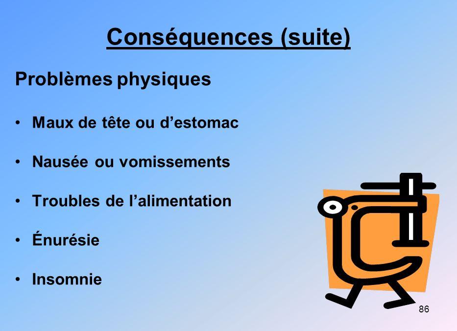 86 Conséquences (suite) Problèmes physiques Maux de tête ou destomac Nausée ou vomissements Troubles de lalimentation Énurésie Insomnie