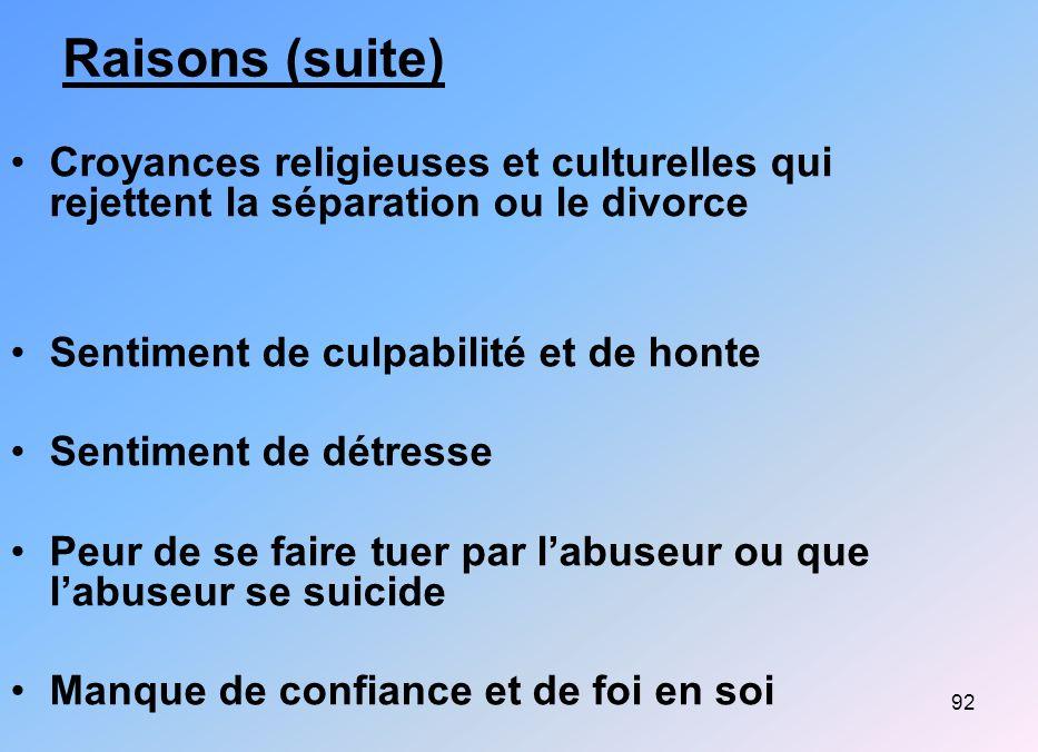 92 Raisons (suite) Croyances religieuses et culturelles qui rejettent la séparation ou le divorce Sentiment de culpabilité et de honte Sentiment de dé