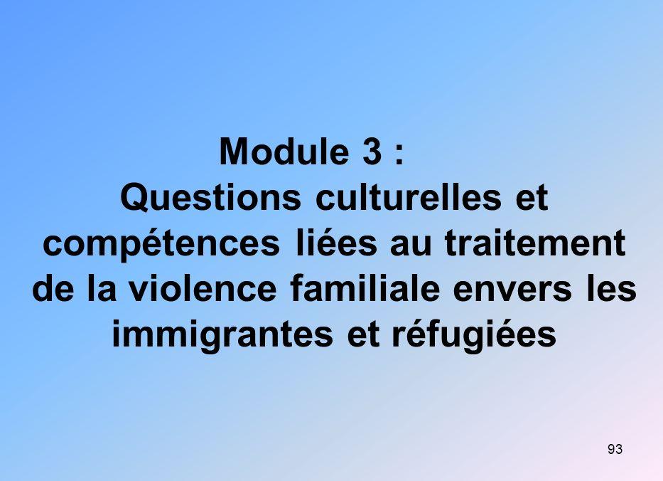 93 Module 3 : Questions culturelles et compétences liées au traitement de la violence familiale envers les immigrantes et réfugiées