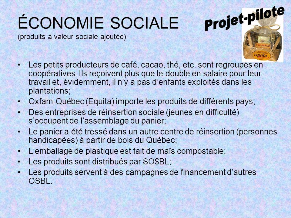 ÉCONOMIE SOCIALE (produits à valeur sociale ajoutée) Les petits producteurs de café, cacao, thé, etc.