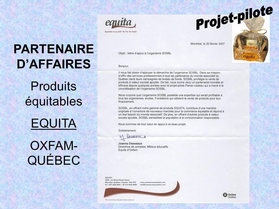PARTENAIRE DAFFAIRES Produits équitables EQUITA OXFAM- QUÉBEC
