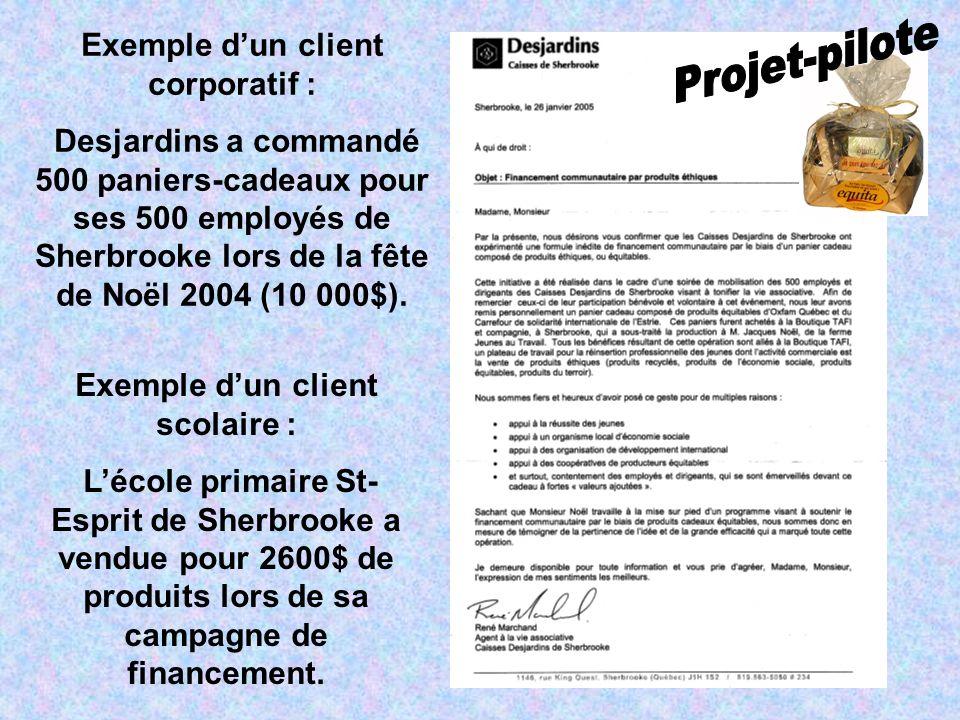 Exemple dun client corporatif : Desjardins a commandé 500 paniers-cadeaux pour ses 500 employés de Sherbrooke lors de la fête de Noël 2004 (10 000$).