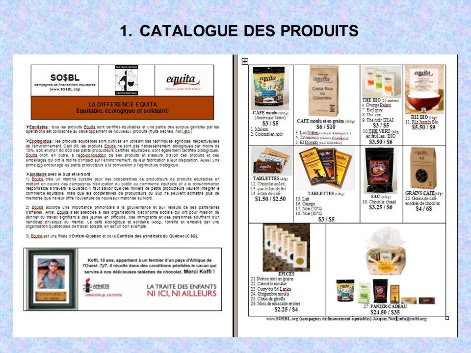 1. CATALOGUE DES PRODUITS