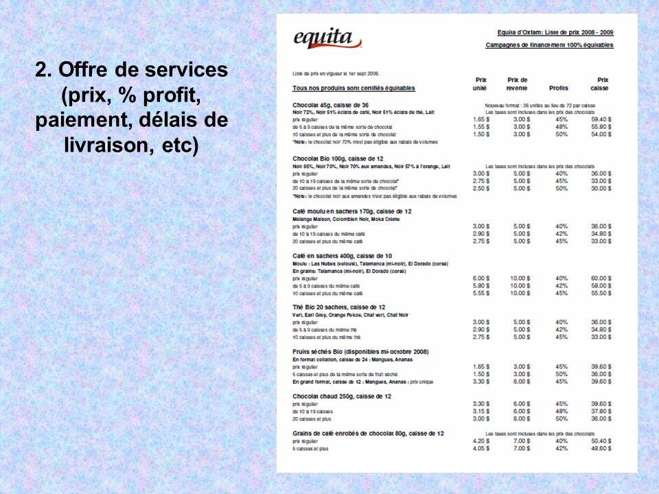 2. Offre de services (prix, % profit, paiement, délais de livraison, etc)