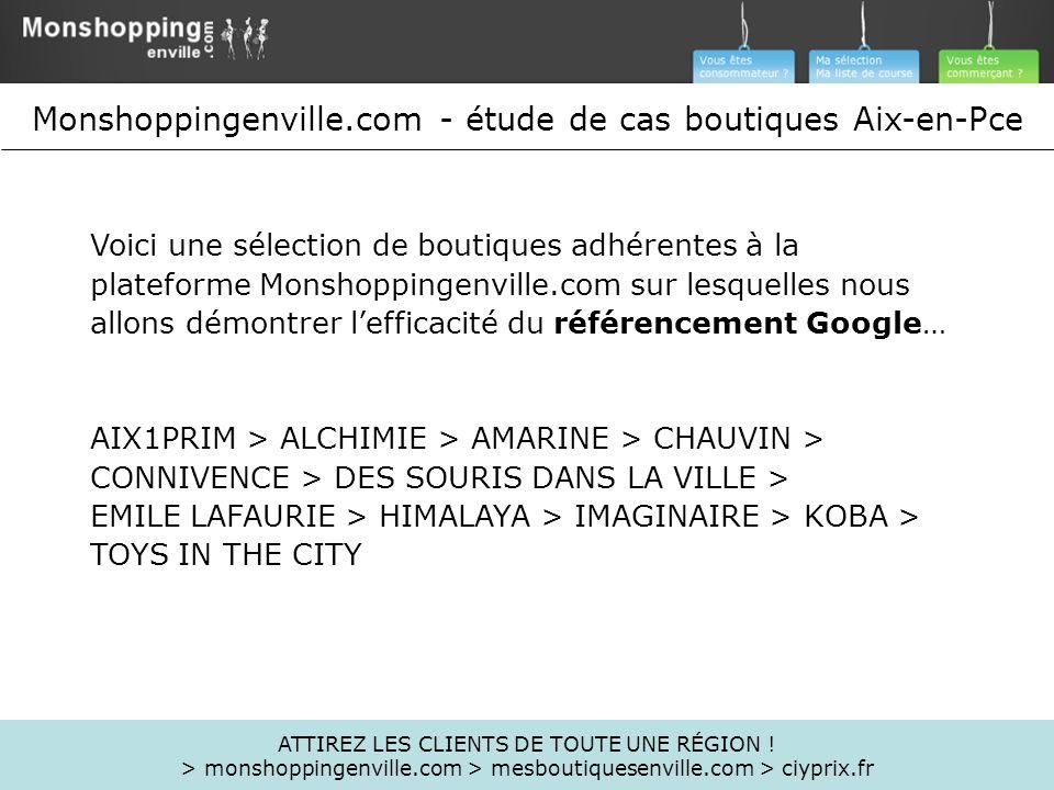 Voici une sélection de boutiques adhérentes à la plateforme Monshoppingenville.com sur lesquelles nous allons démontrer lefficacité du référencement G