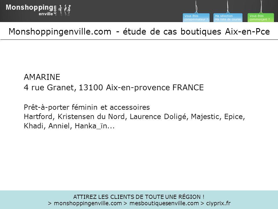AMARINE 4 rue Granet, 13100 Aix-en-provence FRANCE Prêt-à-porter féminin et accessoires Hartford, Kristensen du Nord, Laurence Doligé, Majestic, Epice