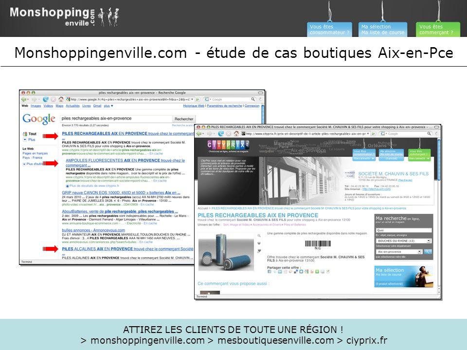 ATTIREZ LES CLIENTS DE TOUTE UNE RÉGION ! > monshoppingenville.com > mesboutiquesenville.com > ciyprix.fr Monshoppingenville.com - étude de cas boutiq
