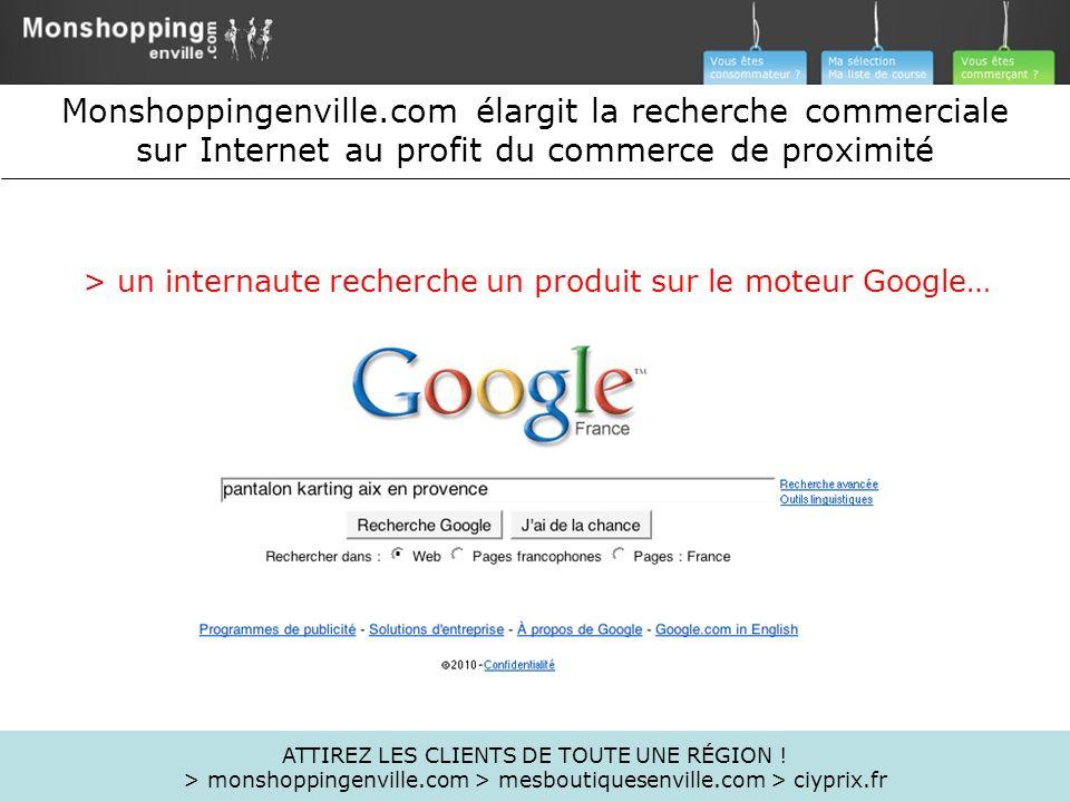 Monshoppingenville.com élargit la recherche commerciale sur Internet au profit du commerce de proximité > un internaute recherche un produit sur le mo