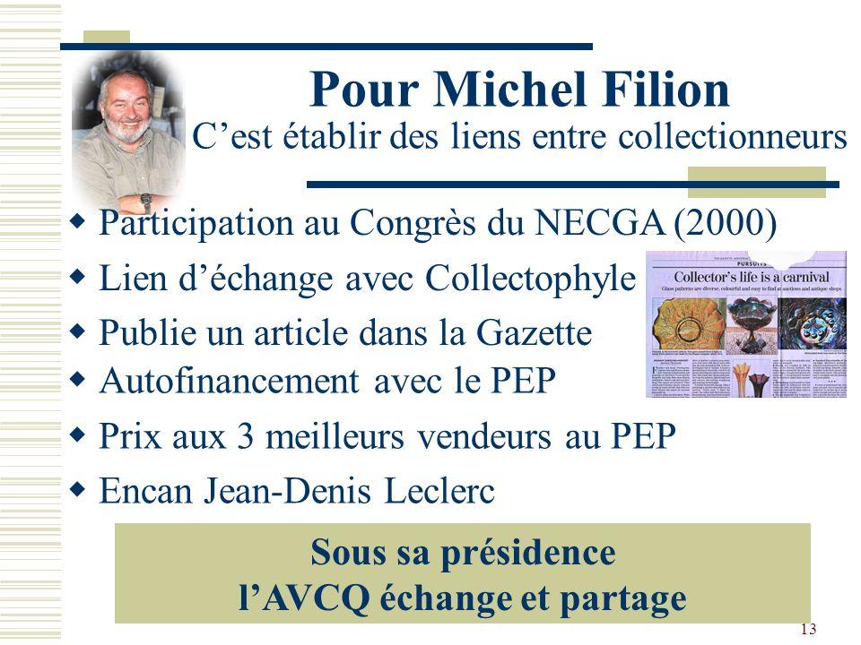 12 Pour Jacques Dugas Cest structurer et démocratiser Révision de la Constitution et des règlements Élargir la contribution de bénévoles Mini-Congrès