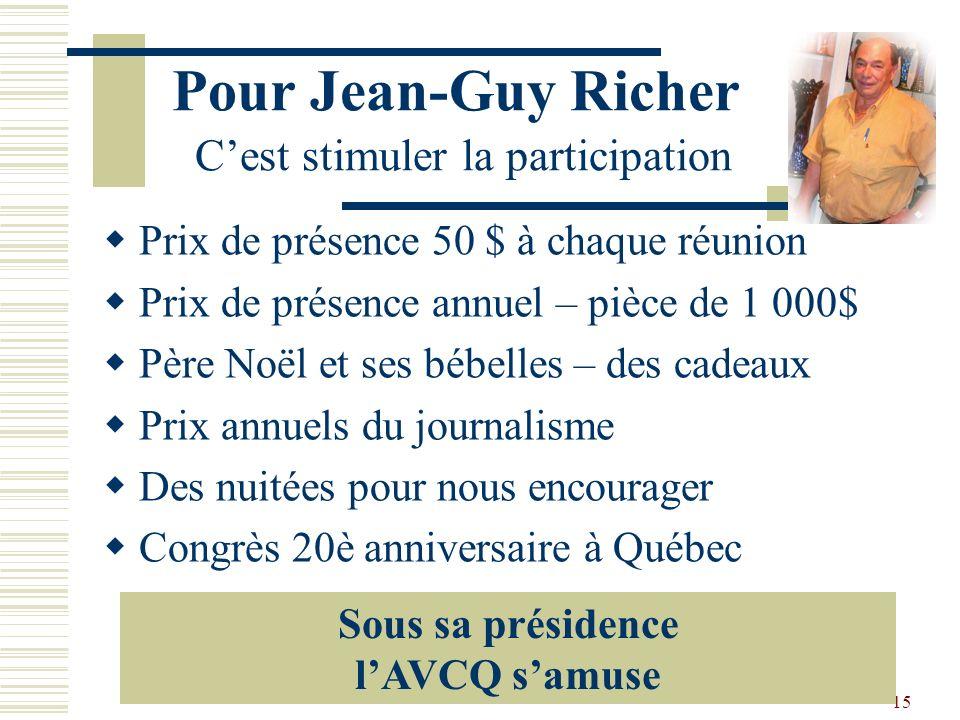14 Une bonne pensée de Michel Une pensée pour deux de nos grands fondateurs, Léo Richer et Jean-Denis Leclerc De là-haut, ils doivent sûrement comment