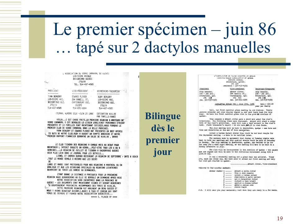 18 Le lancement du Journal Jean-Denis Leclerc Premier éditeur et traducteur 1986 à 2000 Lionel Durand Premier imprimeur 1986 à 1990 Guy Northon Concep