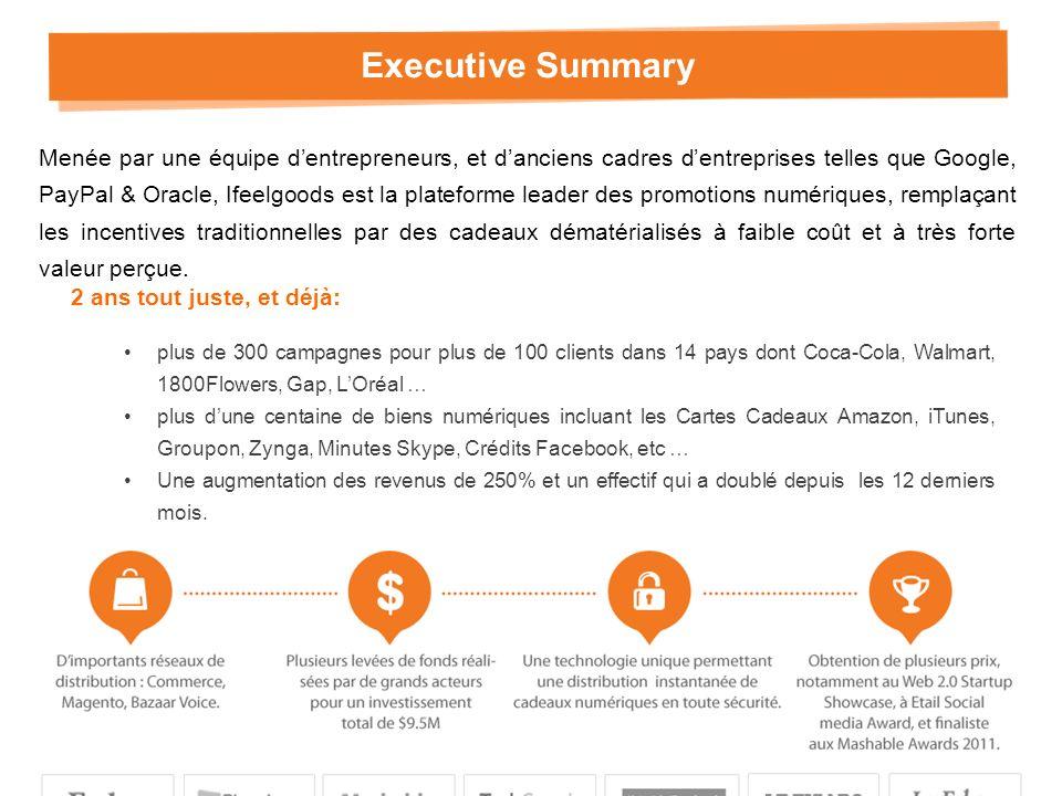 Executive Summary 2 ans tout juste, et déjà: plus de 300 campagnes pour plus de 100 clients dans 14 pays dont Coca-Cola, Walmart, 1800Flowers, Gap, LOréal … plus dune centaine de biens numériques incluant les Cartes Cadeaux Amazon, iTunes, Groupon, Zynga, Minutes Skype, Crédits Facebook, etc … Une augmentation des revenus de 250% et un effectif qui a doublé depuis les 12 derniers mois.