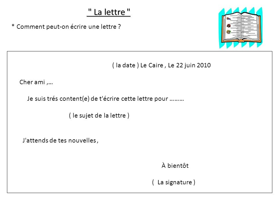 La lettre La lettre * Comment peut-on écrire une lettre .