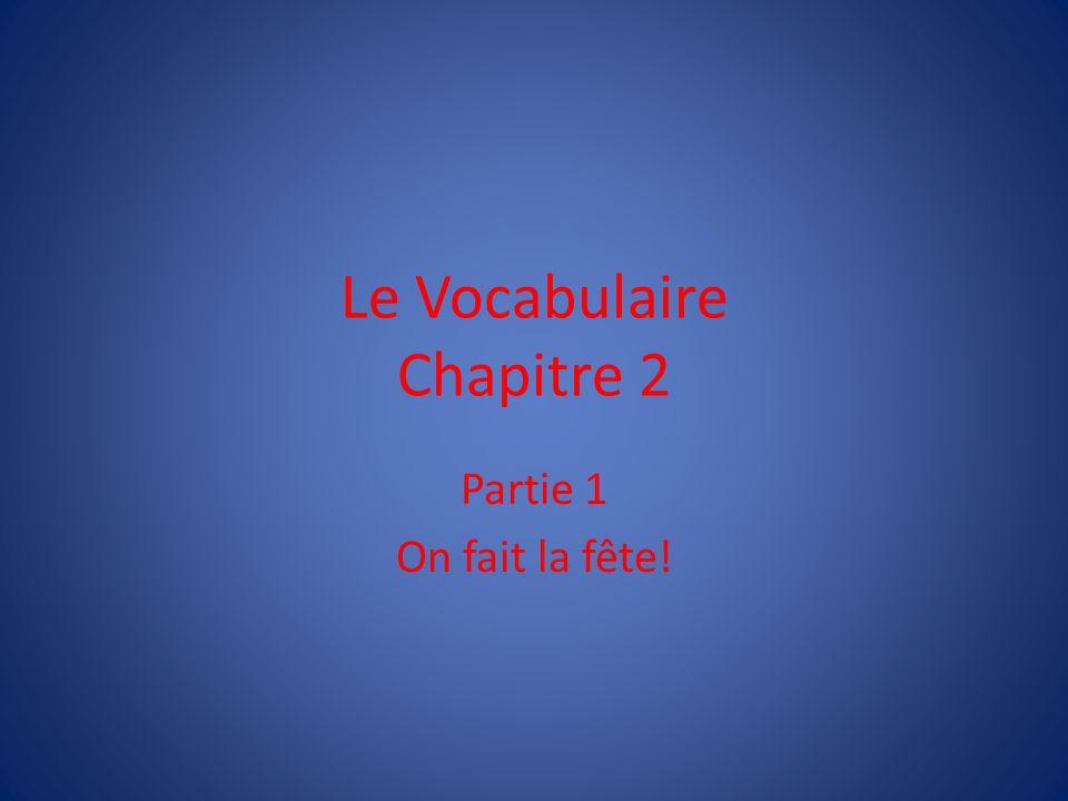 Le Vocabulaire Chapitre 2 Partie 1 On fait la fête!