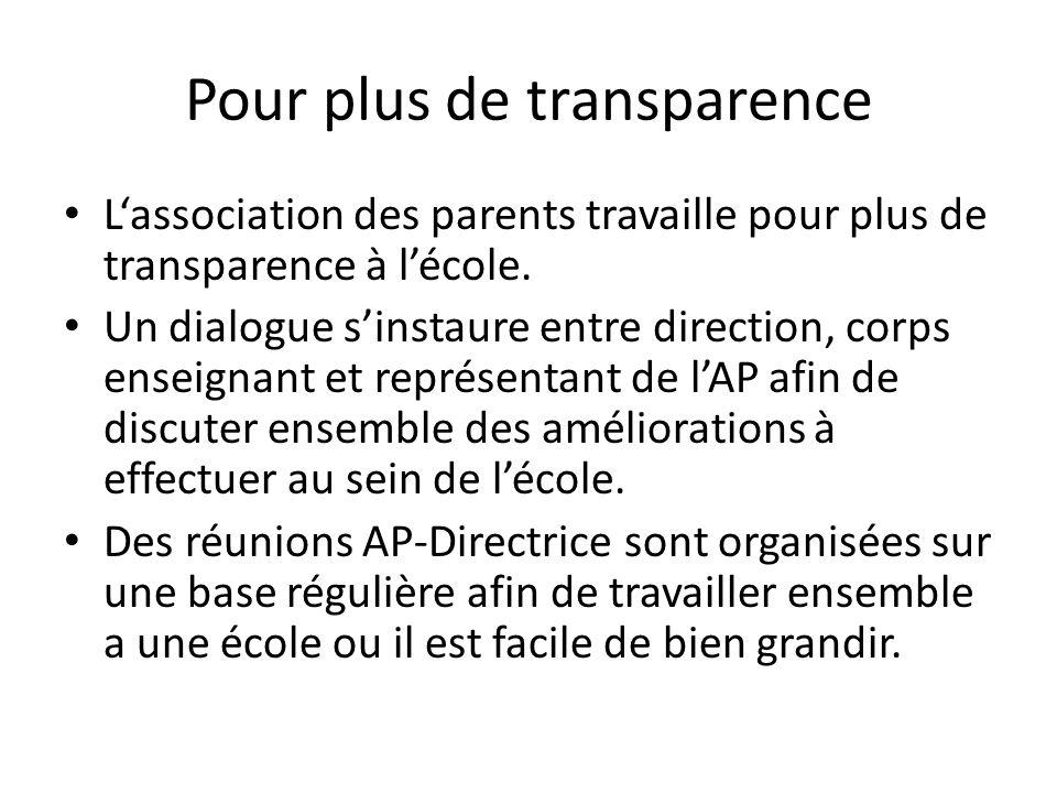 Pour plus de transparence Lassociation des parents travaille pour plus de transparence à lécole. Un dialogue sinstaure entre direction, corps enseigna