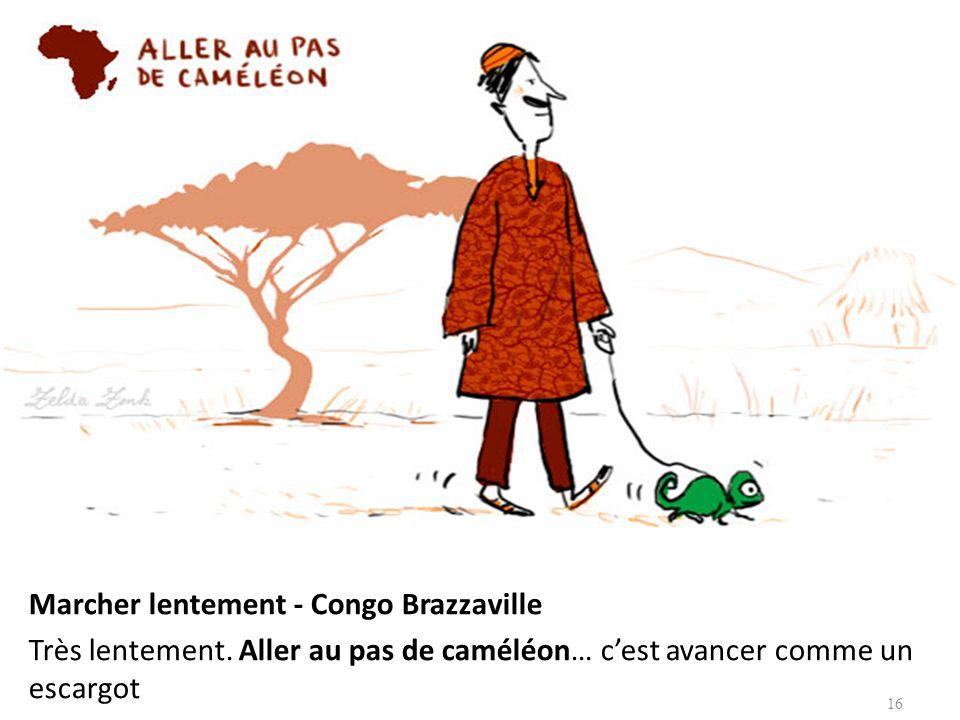 Marcher lentement - Congo Brazzaville Très lentement. Aller au pas de caméléon… cest avancer comme un escargot 16