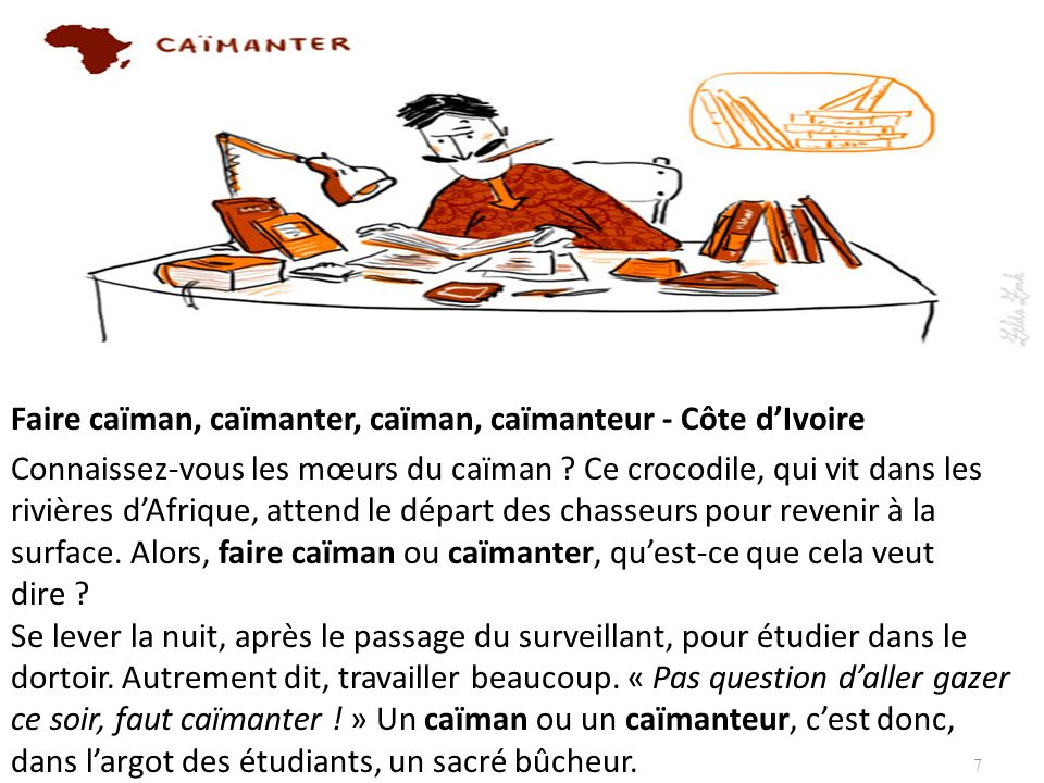 Faire caïman, caïmanter, caïman, caïmanteur - Côte dIvoire Connaissez-vous les mœurs du caïman ? Ce crocodile, qui vit dans les rivières dAfrique, att
