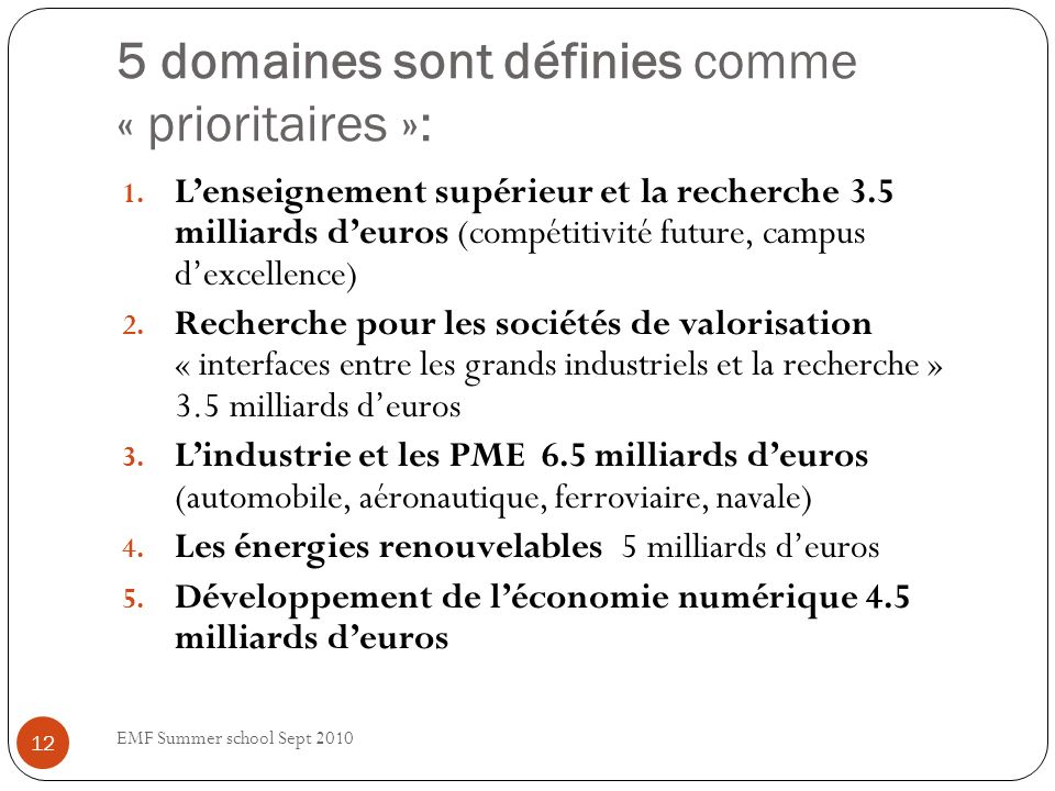 5 domaines sont définies comme « prioritaires »: 1.