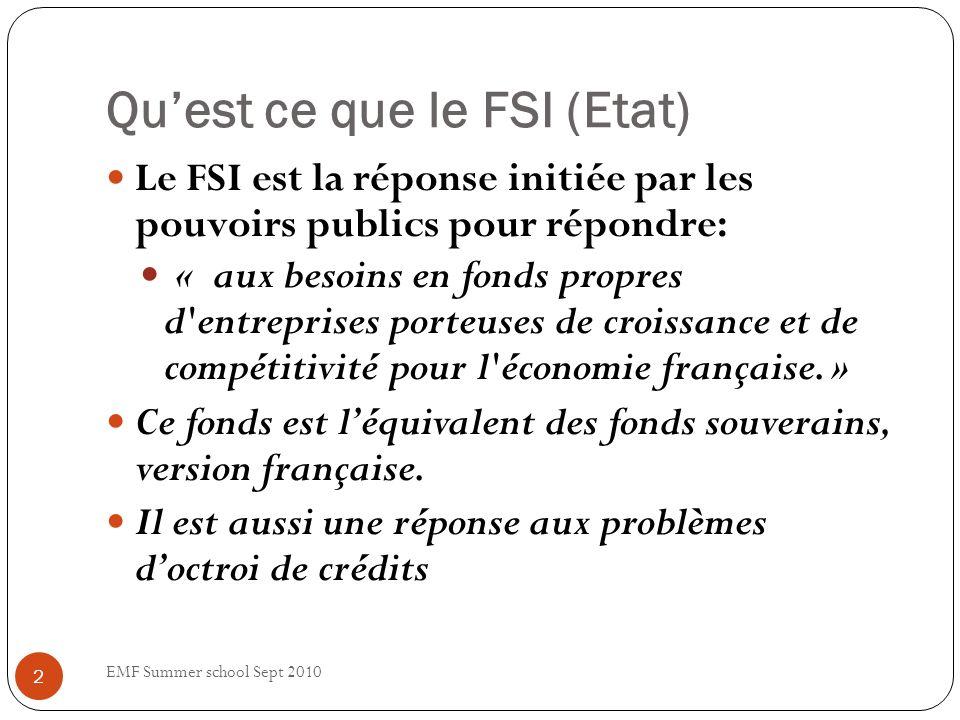 Quest ce que le FSI (Etat) Le FSI est la réponse initiée par les pouvoirs publics pour répondre: « aux besoins en fonds propres d entreprises porteuses de croissance et de compétitivité pour l économie française.