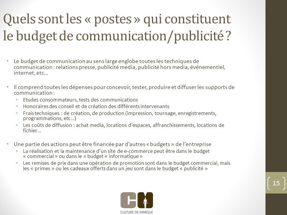 15 Quels sont les « postes » qui constituent le budget de communication/publicité .