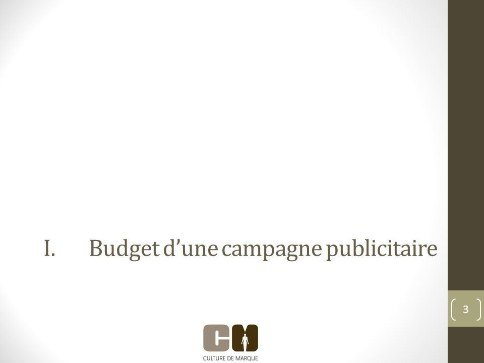 I.Budget dune campagne publicitaire 3