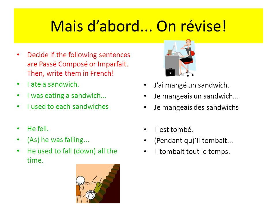 Mais dabord... On révise! Decide if the following sentences are Passé Composé or Imparfait. Then, write them in French! I ate a sandwich. I was eating
